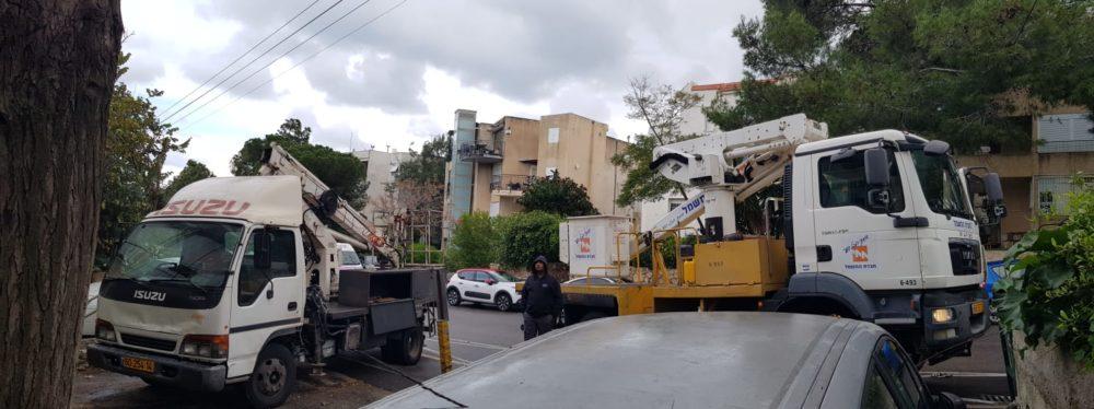 מטפלים במפגע - חברת החשמל ועיריית חיפה במהלך התיקונים ברחוב האילנות (צילום: ירון ציפורי)