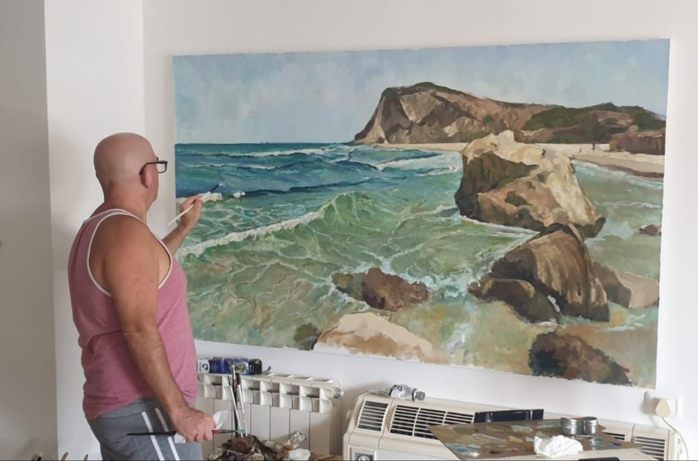 """חוף ים , שמן על בד 180/110 ס""""מ (ציור: יוסי לובלסקי)"""