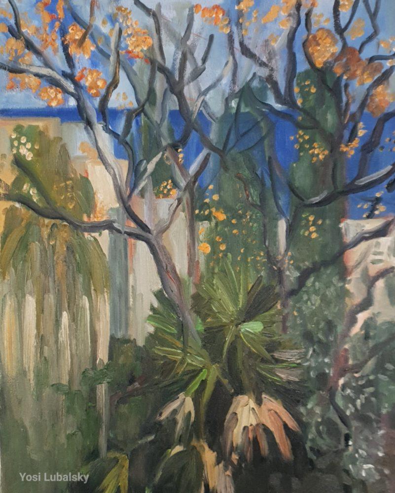 """הגן שלנו נעול, מבט מרחוב הס , שמן על בד 50/40 ס""""מ (ציור: יוסי לובלסקי)"""