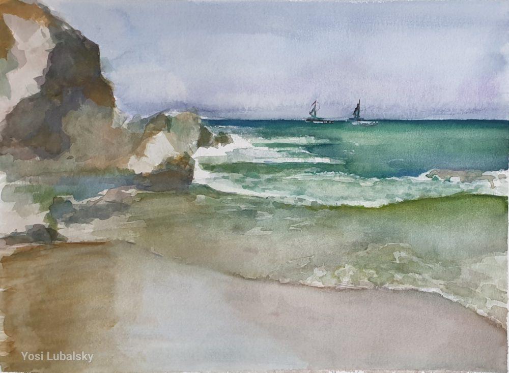 """חוף הים, צבעי אקוורל  על נייר ארציס, 31/41 ס""""מ , (ציור: יוסי לובלסקי)"""