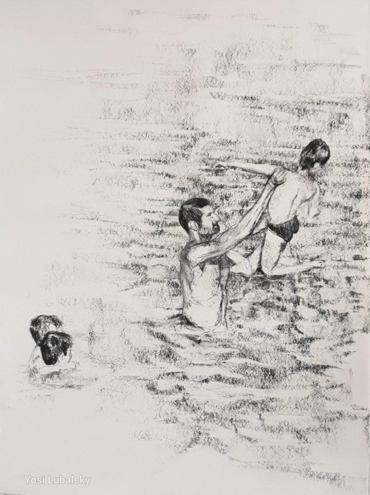 """משלושה קופץ אחד, רישום פחם על נייר Strathmore  46/61 ס""""מ (ציור: יוסי לובלסקי)"""
