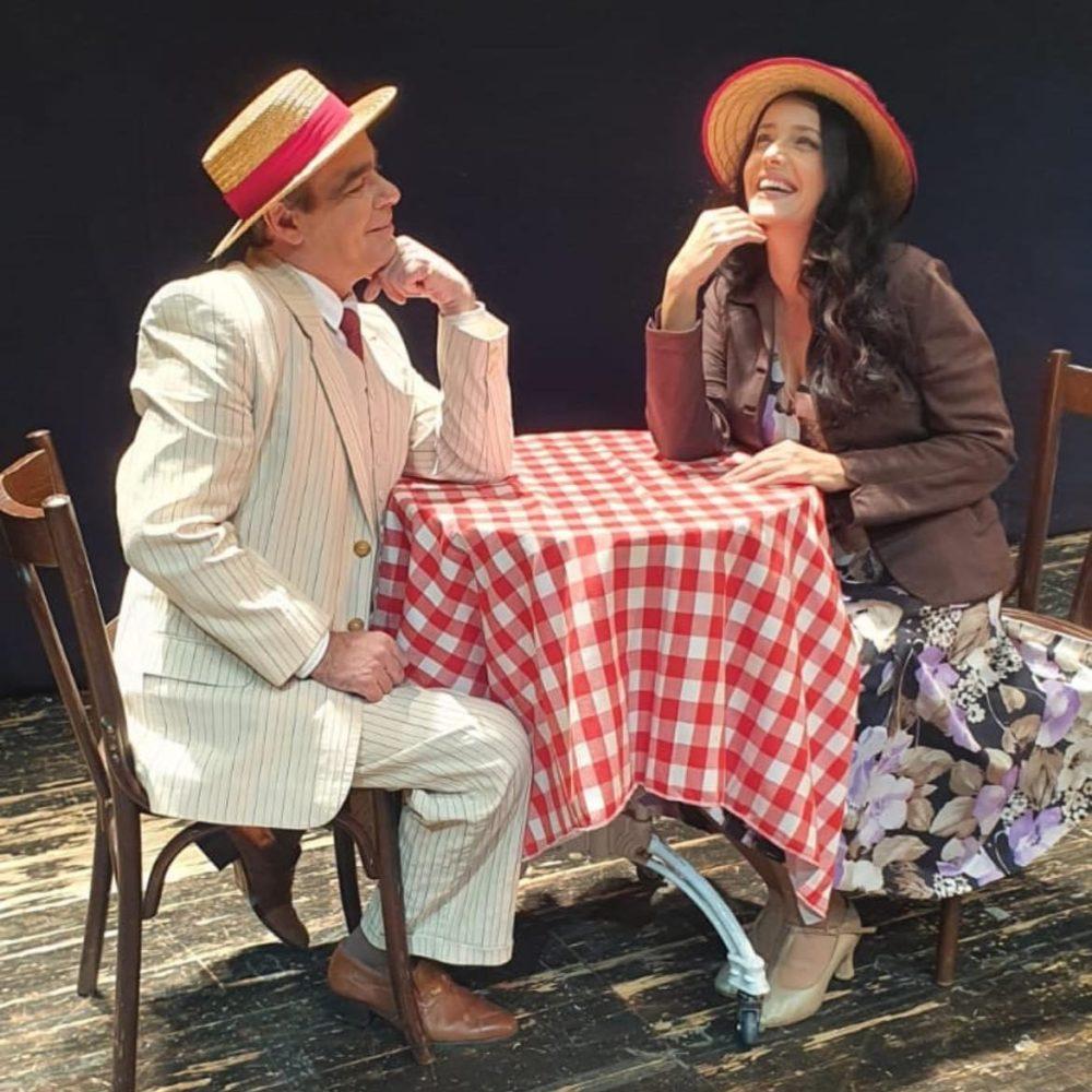 דפנה דקל ואלון אופיר, בהצגה שוק המציאות - תאטרון חיפה (צילום: גילת סלע)