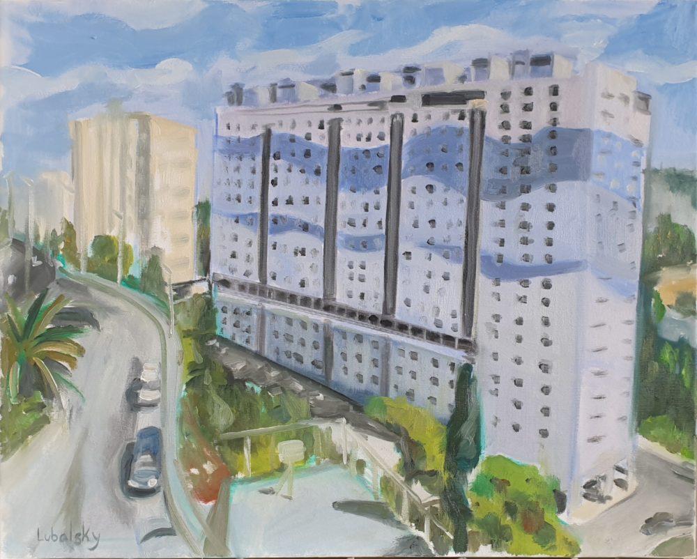 """ליאון בלום 28-36, הבניין הגלי הכחול, שמן על בד 50/40 ס""""מ, (ציור: יוסי לובלסקי)"""