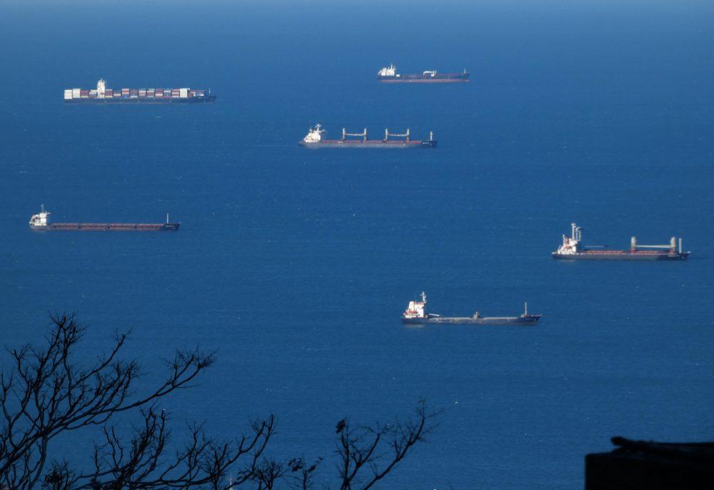 אניות עוגנות במפרץ חיפה (צילום: יעל הורוביץ)