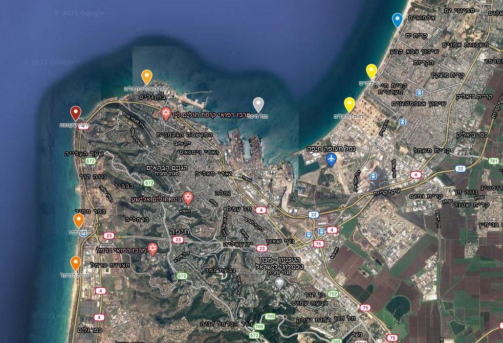 מפת זיהום החופים - חוף שקמונה