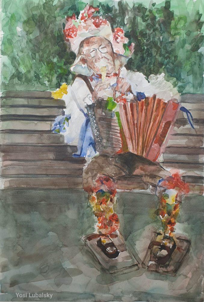 """שמוליק הליצן החיפאי, צבעי מים על ניר 50/35 ס""""מ (ציור: יוסי לובלסקי)"""