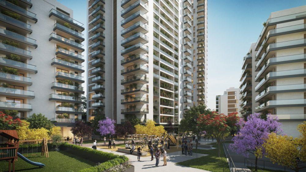"""תכנית פינוי בינוי ברחוב """"החותרים"""" בשכונת אליעזר בחיפה (הדמיה: 3dvision)"""