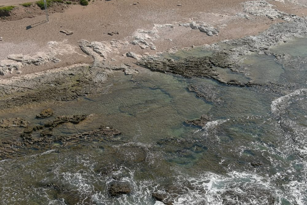 זפת בחוף שקמונה (צילום: המשטרה הירוקה, המשרד להגנת הסביבה)