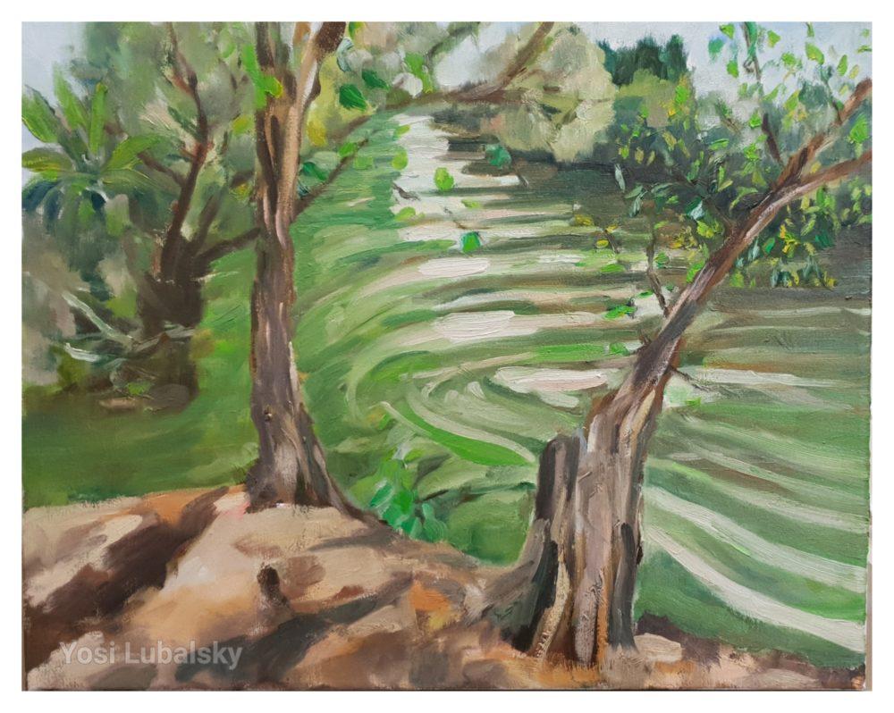 """מפגש שלושת הנחלים קיבוץ שדה נחמיה, שמן על בד 50/40 ס""""מ (ציור: יוסי לובלסקי)"""