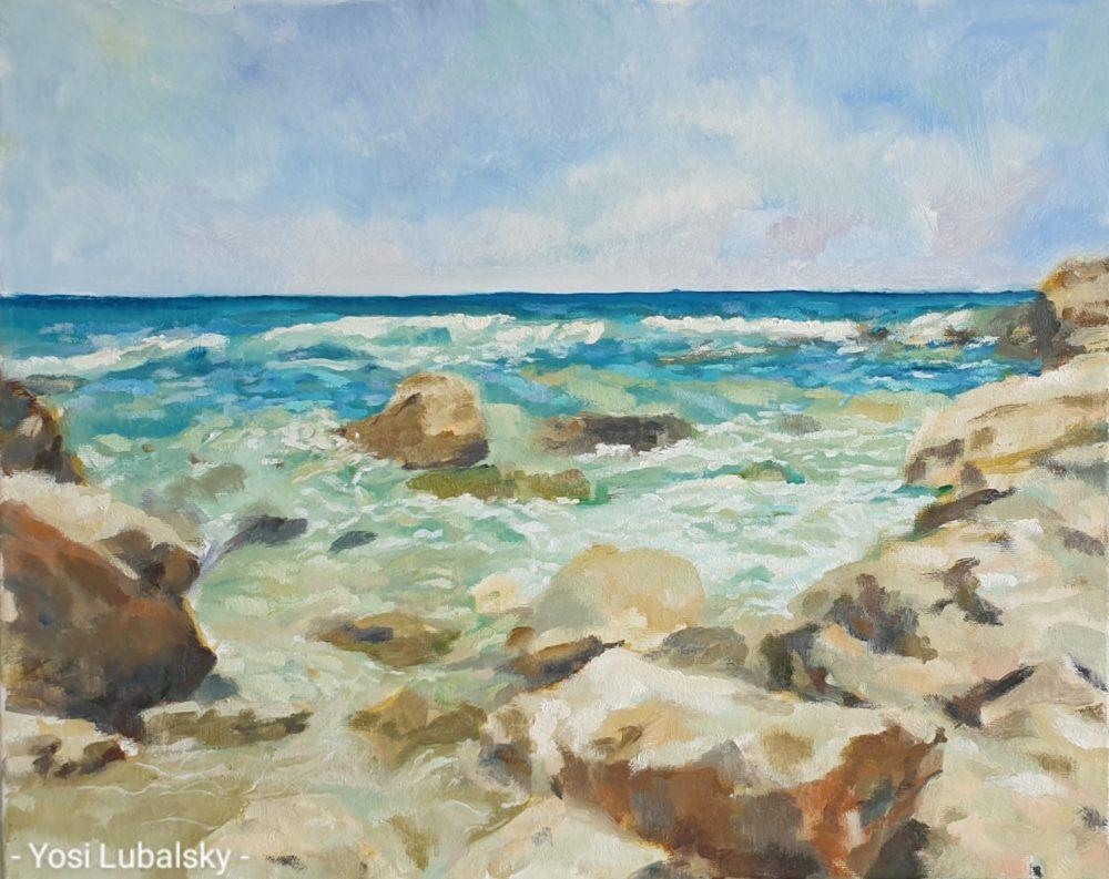 """מראות הים, שמן על בד 50/40 ס""""מ (ציור: יוסי לובלסקי)"""