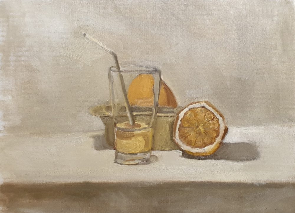 """מיץ תפוזים, שמן על בד, 50/40 ס""""מ (ציור: יוסי לובלסקי)"""