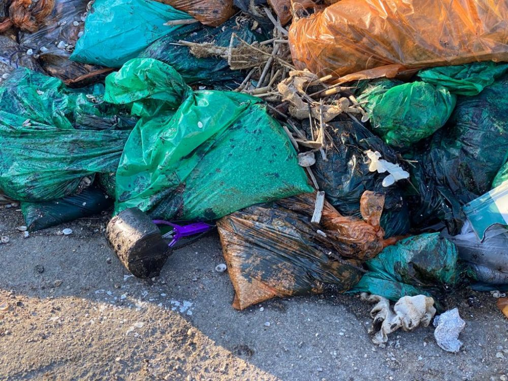 שקיות זפת נערמות לצידי חופי חיפה (צילום: מרום בן אריה)