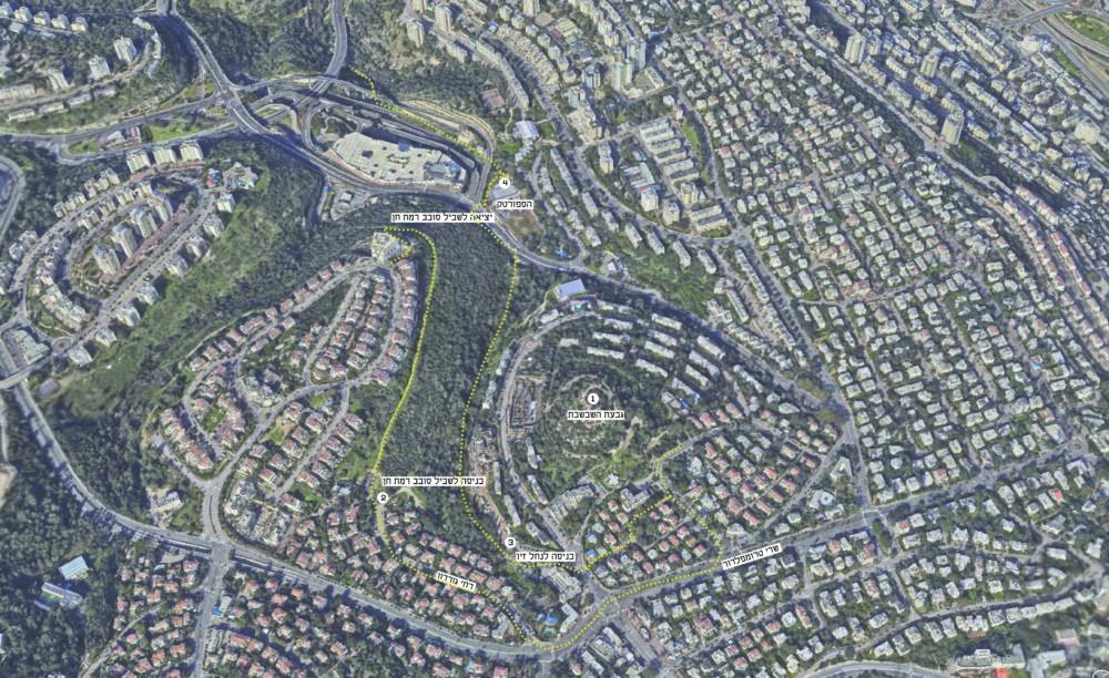 מפת המסלול על רקע מודל תלת מימדי של חברת Simplex-Mapping