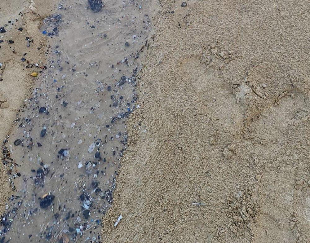 אסון הזפת: כמות גדולה נפלטה לחופי חיפה בשל הסערה 12/3/21 (צילום: אגף החופים - עיריית חיפה)