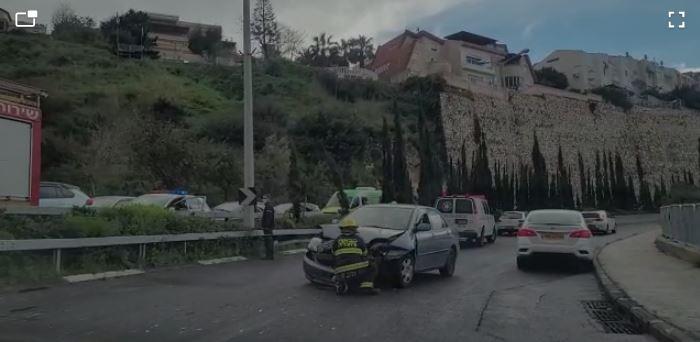 תאונת דרכים בכביש פרויד (צילום: מנשה שמש)