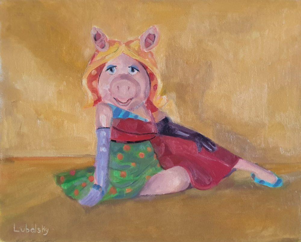 """מיס פיגי, שמן על בד 50/40 ס""""מ (ציור: יוסי לובלסקי)"""