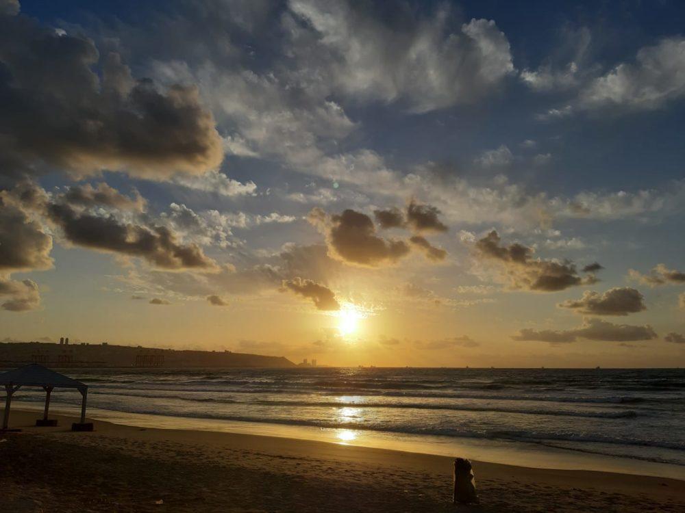 שקיעה בחוף קריית ים (צילום: חן דיין)