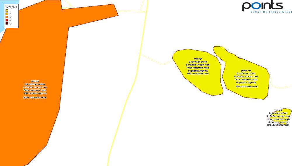 ניר עציון, עין הוד, עתלית - תחלואה בקורונה בחיפה והסביבה - מיפוי של חברת POINTS ליום 4/4/21