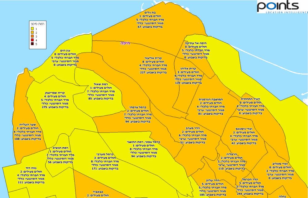 הכרמל הצפוני, שכונות החוף, בת גלים - תחלואה בקורונה בחיפה והסביבה - מיפוי של חברת POINTS ליום 4/4/21