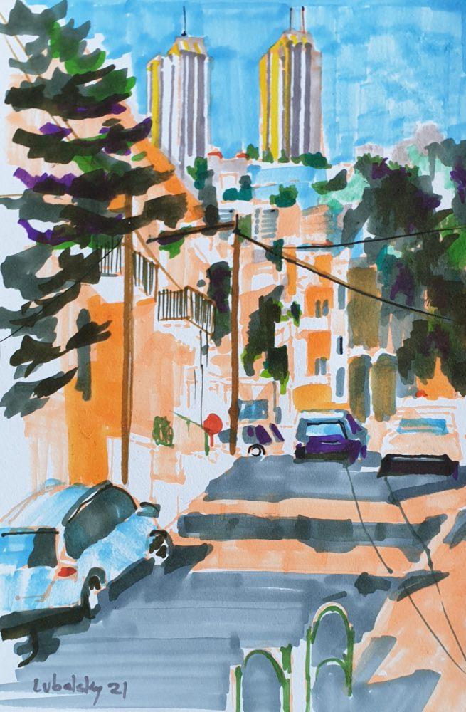 מורדות הכרמל, רחוב השלום חיפה, טושים צבעוניים על נייר 150 גרם (ציור: יוסי לובלסקי)