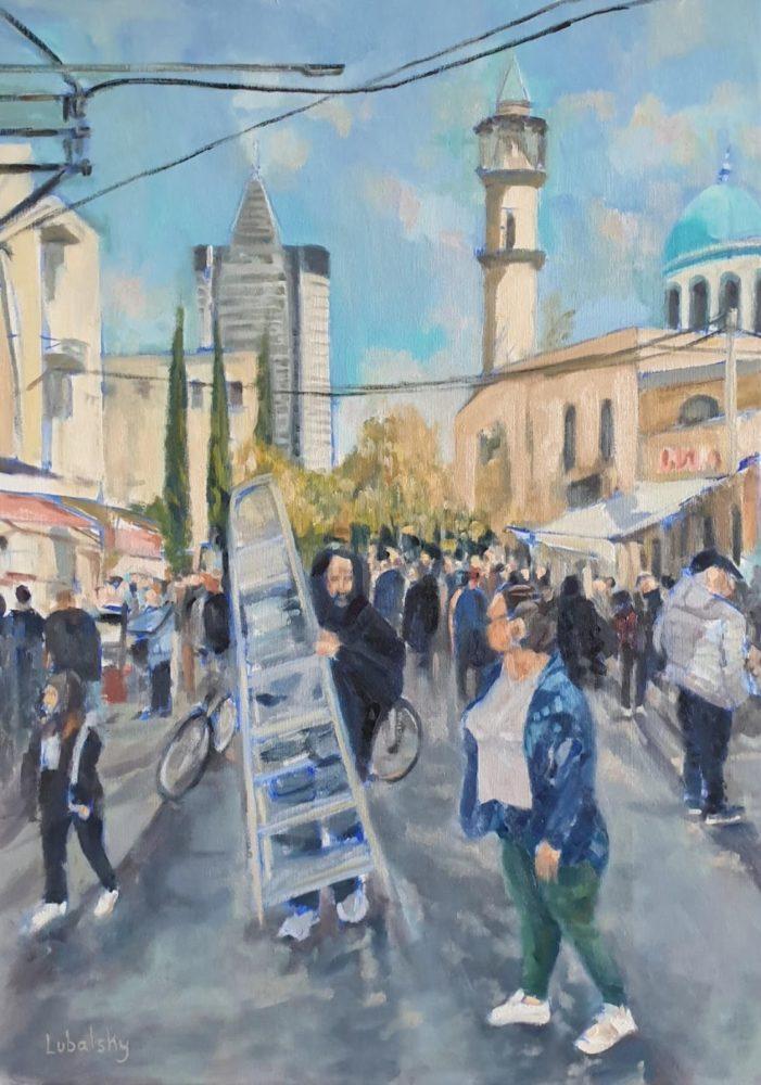 """שוק הפשפשים חיפה, שמן על בד, 70/50 ס""""מ (ציור: יוסי לובלסקי)"""