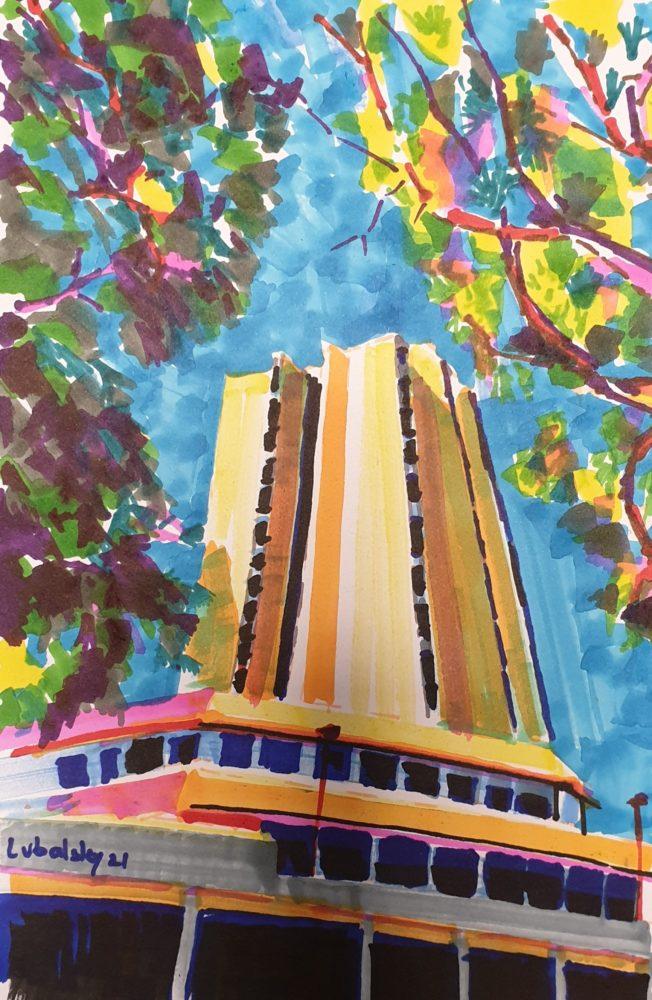 מרכז הכרמל, מגדלי פנורמה, טושים צבעוניים על נייר 150 גרם (ציור: יוסי לובלסקי)