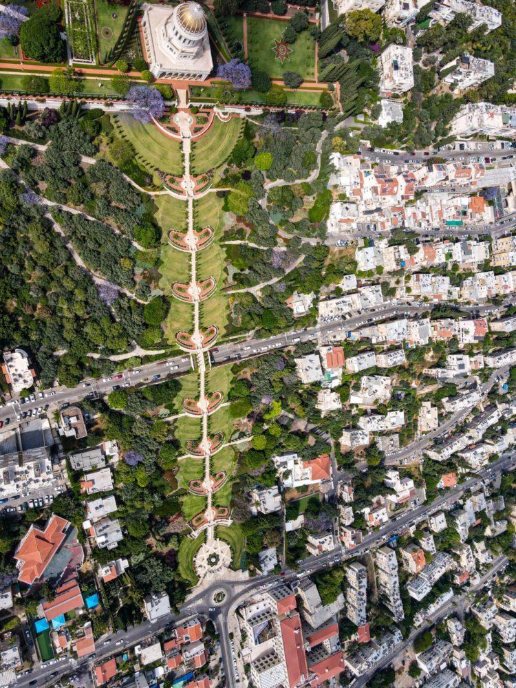 חיפה - הגנים הבהאים (צילום רחפן מאת גלעד שטיין)