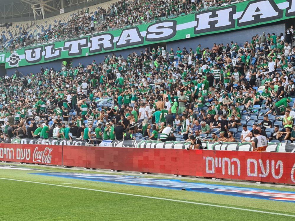משחק האליפות בין מכבי חיפה לבאר שבע - היציע כבר מוכן (צילום: יוסף הירש)