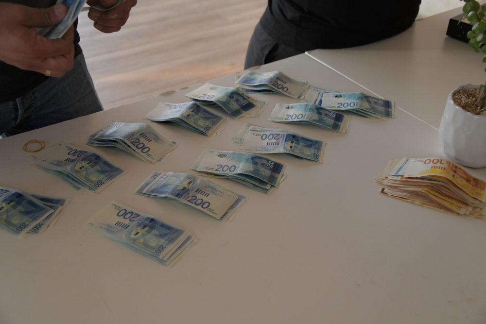 כסף שנתפס (צילום: משטרת ישראל)