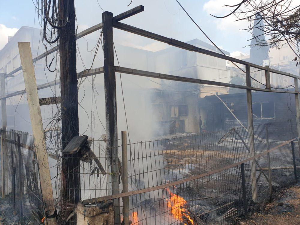 שריפה בגן ילדים בקריית מוצקין (צילום: כבאות והצלה)