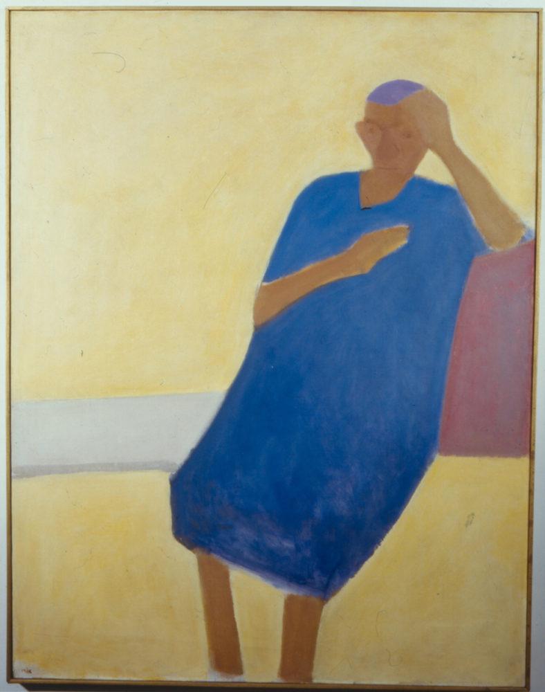 אורי רייזמן, אישה יושבת 1968, שמן על בד (צילום: מוזיאון חיפה לאומנות)