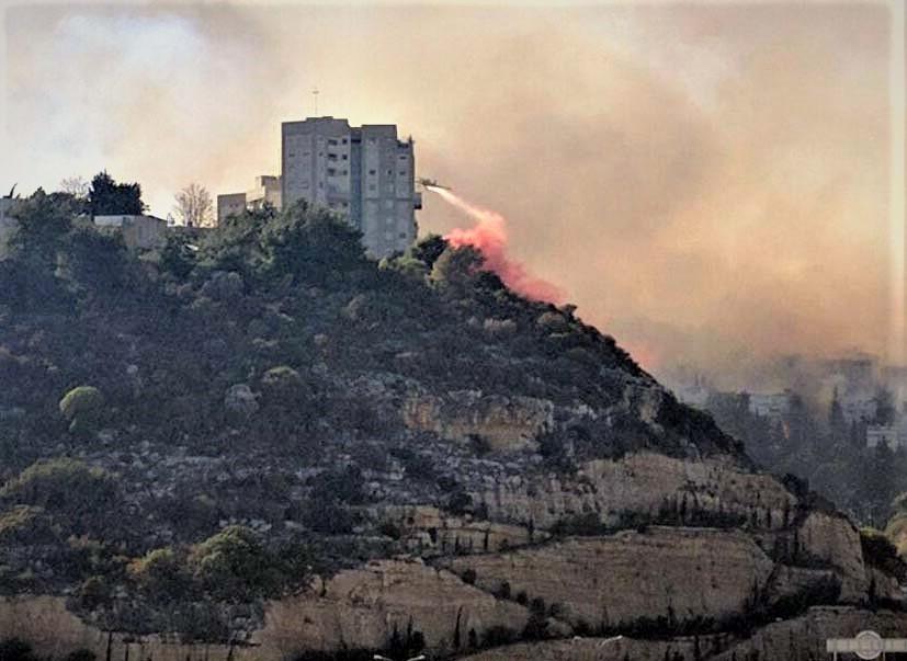 מטוס כיבוי מעל השרפה ברוממה - מבט מבית אבא חושי (צילום: גונן ימיני)