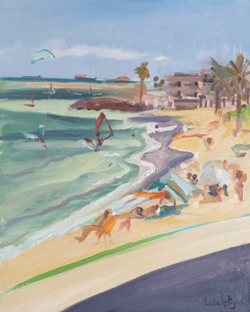 חוף הגולשים בת גלים חיפה ( ציור יוסי לובלסקי)