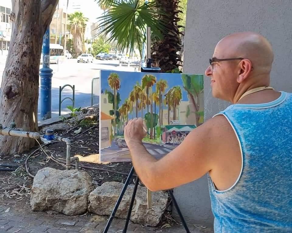 ציור חוץ בפעולה של שדרות בת גלים בחיפה (ציור: יוסי לובלסקי)